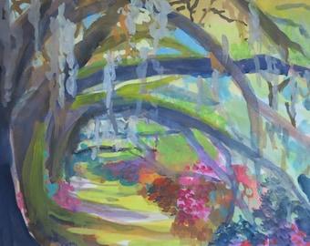 South Carolina - Angel Oak - low country - watercolor - gouache - moss - azalea - plantation - impressionism - original - hand painted - mat