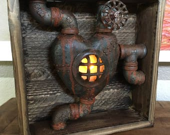 Flickering heart furnace shadow box Led candle