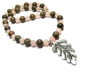 Rose Quartz Beaded Pendant Necklace Silver Leaf Jasper Necklace Pink Necklace Gift Ideas Leaf Pendant Top Selling Jewelry
