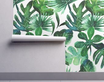 Jungle Wallpaper - Tropical Leaves By Crystal Walen - Monstera Palms Custom Printed Removable Self Adhesive Wallpaper Roll by Spoonflower
