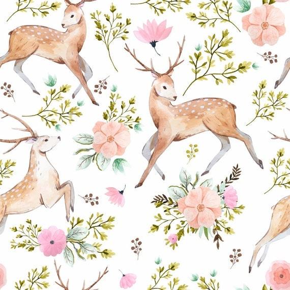 Woodland Fabric Denver Deer White By Shopcabin