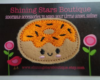 Girls Hair Accessories - Felt Hair Clip - Light Brown And Orange Embroidered Felt Donut With Black Halloween Sprinkles Boutique Hair Clippie