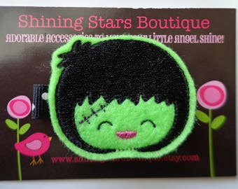 Felt Hair Clip - Toddler Hair Accessories - Lime Green And Black Halloween Bride Of Frankenstein Girl Embroidered Felt Hair Clippie
