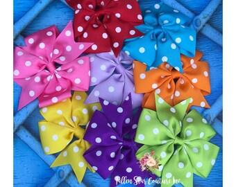 Set of 8 hair bows / girls hair bows / bows /4 inch polka dot bows / starter set / READY TO SHIP