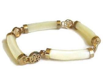 White Jade Jadeite Bracelet Asian Symbols Vintage Link