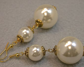 Vintage Japanese White Lucite Double Pearl Bead Long Dangle Earrings ,Ornate Gold Bead Caps- GIFT WRAPPED