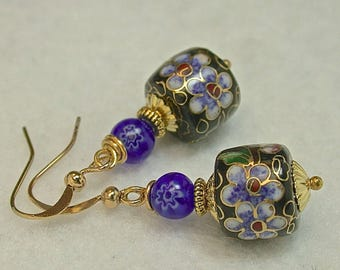 Vintage Chinese Black Cloisonne Blue Flower Bead Dangle Earrings, Vintage Cobalt Blue Mirano Millefiori Glass Beads ,Gold french ear wires