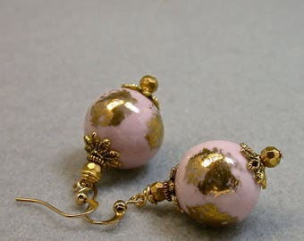 Vintage Chinese Pink Gold Porcelain Dangle Drop Bead Earrings,Vintage Gold Lucite Crystal Beads - GIFT WRAPPED