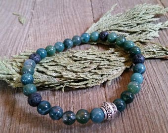 Aromatherapy Stretch Bracelet Natural Gemstone Lava Stone Essential Oil Moss Agate Green Jewelry Bead