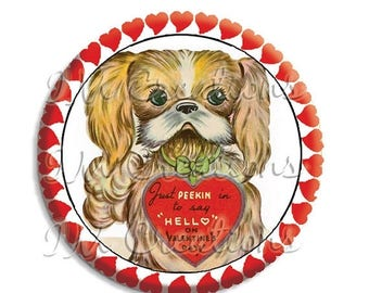 "20% OFF - Valentine's Day Adorable Doggie Pocket Mirror, Magnet or Pinback Button - Favors - 2.25""-  MR490"