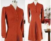 Vintage 1930s Dress - Splendid Pumpkin Orange Woven Wool 30s Day Dress with Buttons and Center Front Pleat