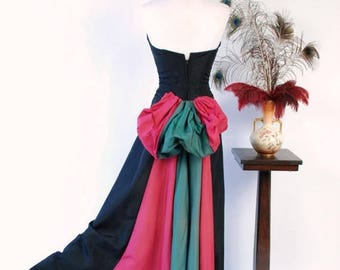 50% CLEARANCE Vintage 1950s Gown - Bold Color Block Early 50s Strapless Dress with Two Tone Fuchsia and Emerald Green Bustle Drape