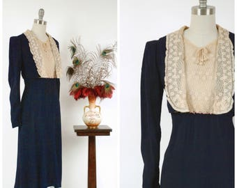 Vintage 1930s Dress - Fabulous 1930s Deep Navy Crepe Dress with Ruffled Lace Faux Jacket and Bodice