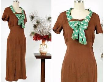 Vintage 1930s Dress - Adorable Two Tone Brown Silk 30s Day Dress with Emerald Green Polka Dot Sash Neckline