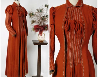 Vintage Victorian Dress - c. 1890 Authentic Victorian Rust Colored Heavy Silk Tea Dress with Top Stitching and Puffed Sleeves