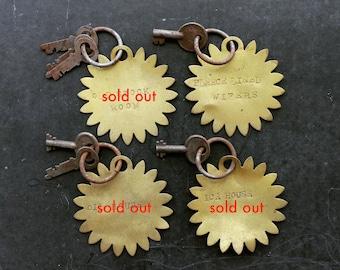 Vintage Farm Key Tag, Industrial Salvage Key Tag, Ice House Keys, Rustic Key Tags, Rural Artifacts, Stamped Brass Key Tags, Brimfield Finds
