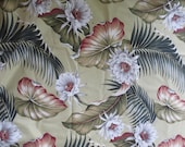 "Hawaiian Barkcloth Fabric ""NIght Blooming"" Big Kahuna Rare 7 ft"