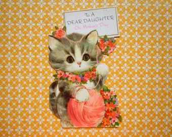 Vintage Kitten Cat with a Pink Ball of Yarn Greeting Card