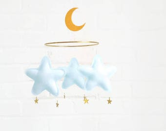 Baby blue mobile, Blue Baby mobile, star mobile, mobile, moon mobile, nursery decor, nursery, nursery mobile, modern nursery, gold nursery