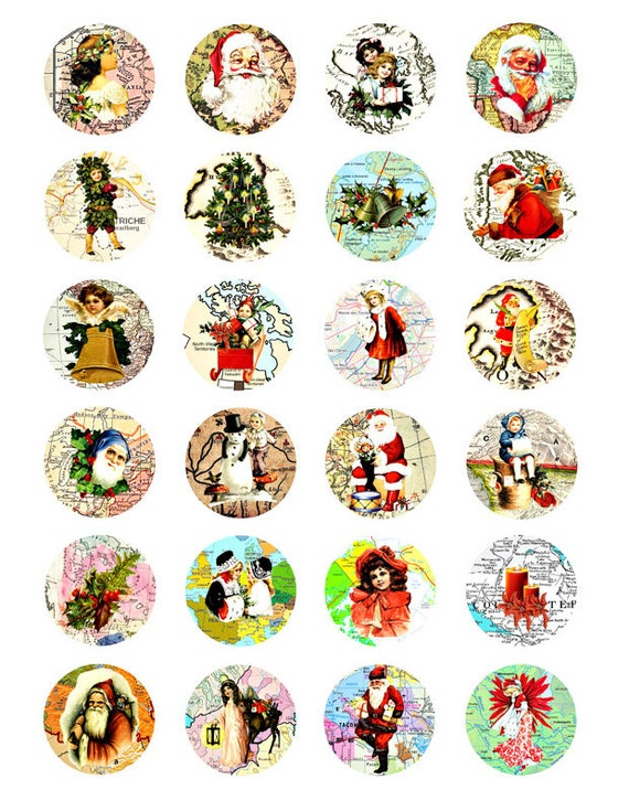 Christmas world maps Vintage clip art santa claus children collage sheet 1.5 INCH circles digital Images Download graphics crafts scrapbook