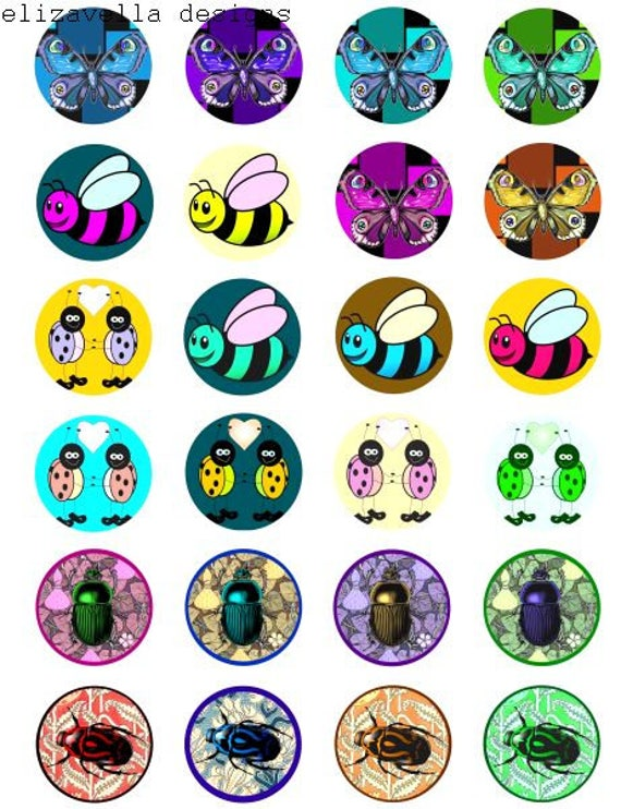 love bugs insects butterflies beetles cartoon collage sheet 1.5 inch circles clip art digital download art childrens craft printables