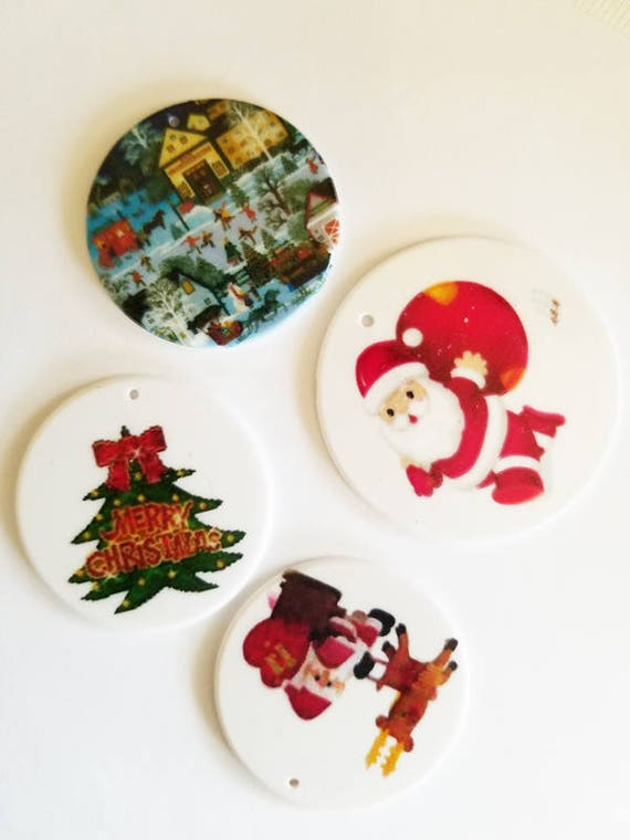 4 large plastic christmas charms christmas pendants lot ornaments santa deer tree round disc 47mm to 60mm