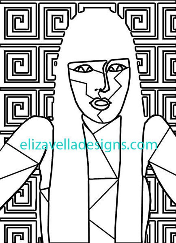abstract woman adult coloring page printable abstract line art wall art printables digital download graphics images home bedroom living room