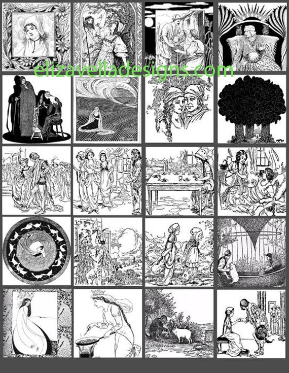 fairytale folktale clip art collage sheet 2 INCH squares childrens vintage book images graphics art printables black and white