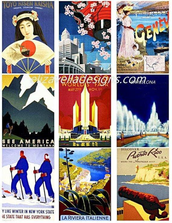 travel posters vacation vintage art 2.5 x 3.5 inch images digital download Collage sheet graphics printables world travel
