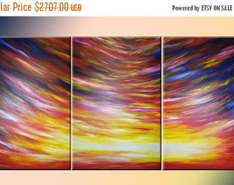 Large Sunset Painting, Original Fine Art, Red Yellow Abstract Art, Colorful Sunrise, Beautiful Sunset, 3'x6' Painting, by Lafferty - 36x72""