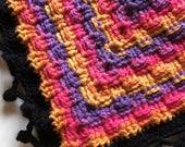 Crochet Afghan, basket weave throw, granny square lap afghan