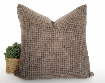 Rustic Brown Pillow Cover, Brown Grey Pillows, Wool Check Pillows, Cabin Cushion Covers, Log Home Decor, Christmas Gift For Him, 20x20
