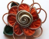 Orange and Beige Floral Brooch / Zipper Pin by ZipPinning 3177