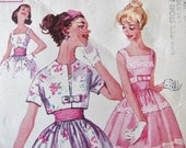 32 bust Simplicity 2992 Vintage 1950's Party Dress with Bolero Jacket / Woman's Retro 50's Sewing Pattern / B-32/w-25/h-34