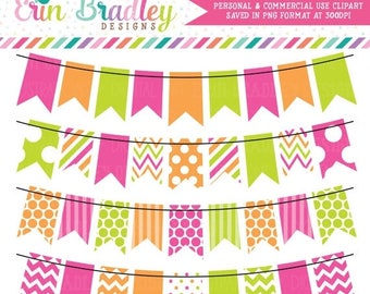 50% OFF SALE Hot Pink Green and Orange Bunting Banner Flag Clipart Clip Art Set Personal & Commercial Use