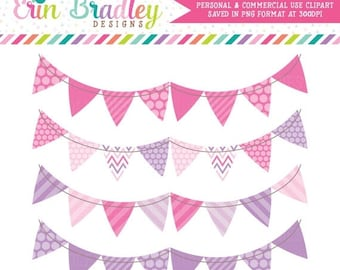 50% OFF SALE Banner Flag Clipart Pink and Purple Bunting Commercial Use Clip Art Graphics