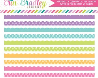 80% OFF SALE Springtime Clipart Borders Scalloped Clip Art Graphics Commercial Use