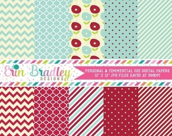 80% OFF SALE Digital Scrapbook Papers Personal and Commercial Use Blue Red Cream Medley