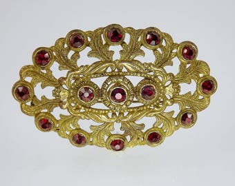 Gold Filigree Brooch, Large Oval Red Rhinestone, Vintage Costume Jewelry, Art Nouveau Style Brooch