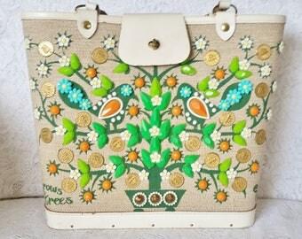 Enid Collins,Handbag, Vintage, Bright, Beautiful and Vibrant Handbag, It Grows On Trees, Vintage Purse