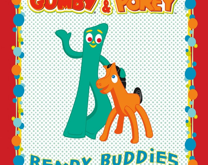 GUMBY AND POKEY Children's Cotton Cloth Panel by Riley Blake Designs 36 x 44 Inches