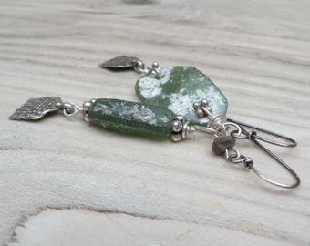 Asymmetrical Roman Glass Earrings With Old Rajasthani Sterling Silver Charms, Dark Green