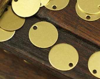 Round Brass Charm, 100 Raw Brass Cabochon Tags, Stamping Tags (10mm) Brs 71 A0289