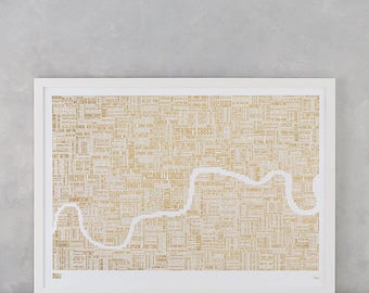 London Limited Edition: Foil Blocked London Type Map, London Map, London Type Map, London Metallic Map, London Artwork, London Wall Poster