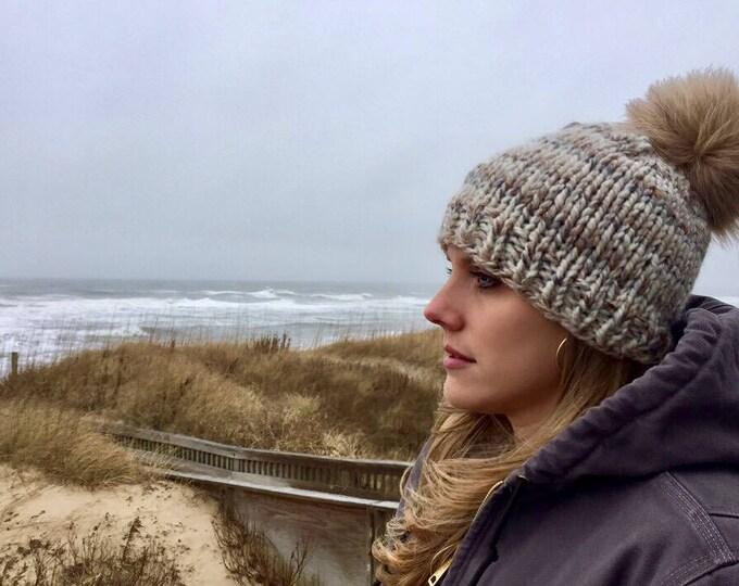 knitted pom hat winter beanie warm soft one size handmade neutral cream verigated