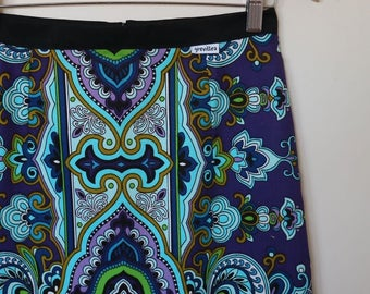 psychedelic in blues...A line mini skirt in vintage fabric