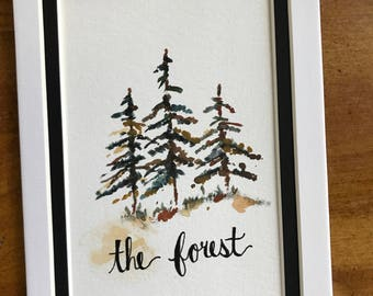 Watercolor forest pinetree original painting