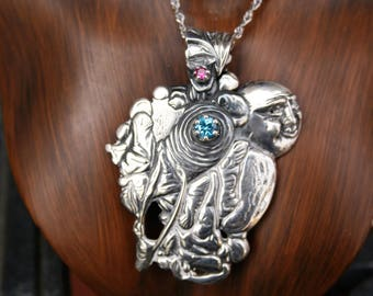 Vintage Sterling Silver Big Bold Pendant /Necklace with blue topaz and ruby stones  , one of the kind , made by George Shaw ,Just Stunning