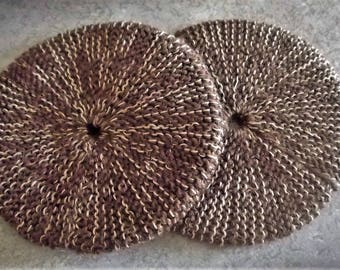 Buy Bonnie's 2 - Hand Knit Round *Cup Bottom* Coasters Brown/Gold Great for Hot Beverages Coffee Tea Cocoa #cyicrochet