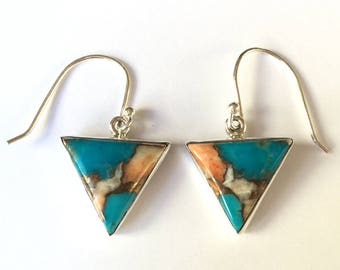Turquoise and Spiny Oyster Triangular Sterling Silver Earrings
